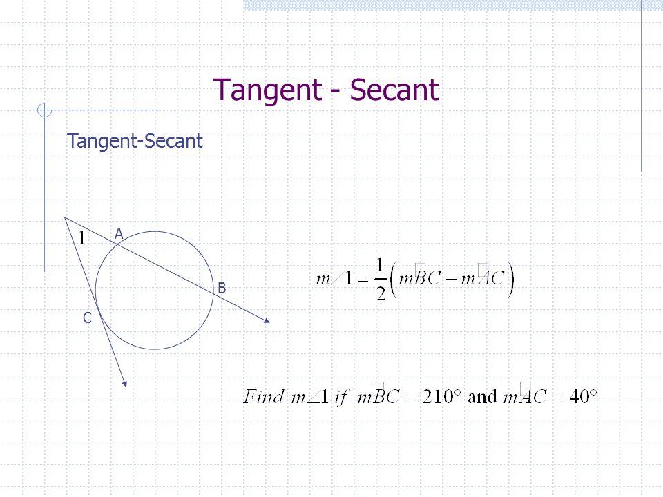 Tangent - Secant Tangent-Secant A B C