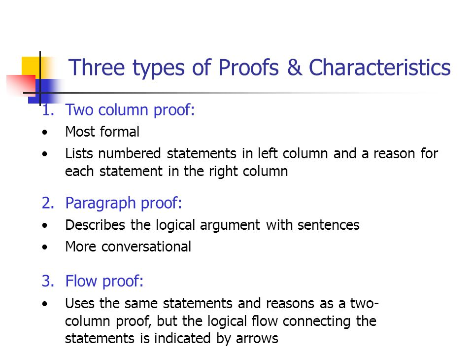 Three types of Proofs & Characteristics
