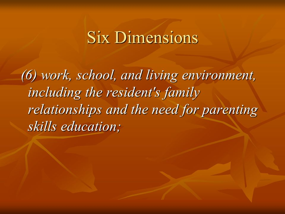 Six Dimensions (6) work, school, and living environment, including the resident s family relationships and the need for parenting skills education;