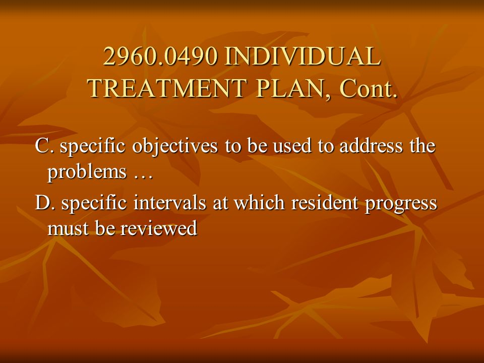 2960.0490 INDIVIDUAL TREATMENT PLAN, Cont.