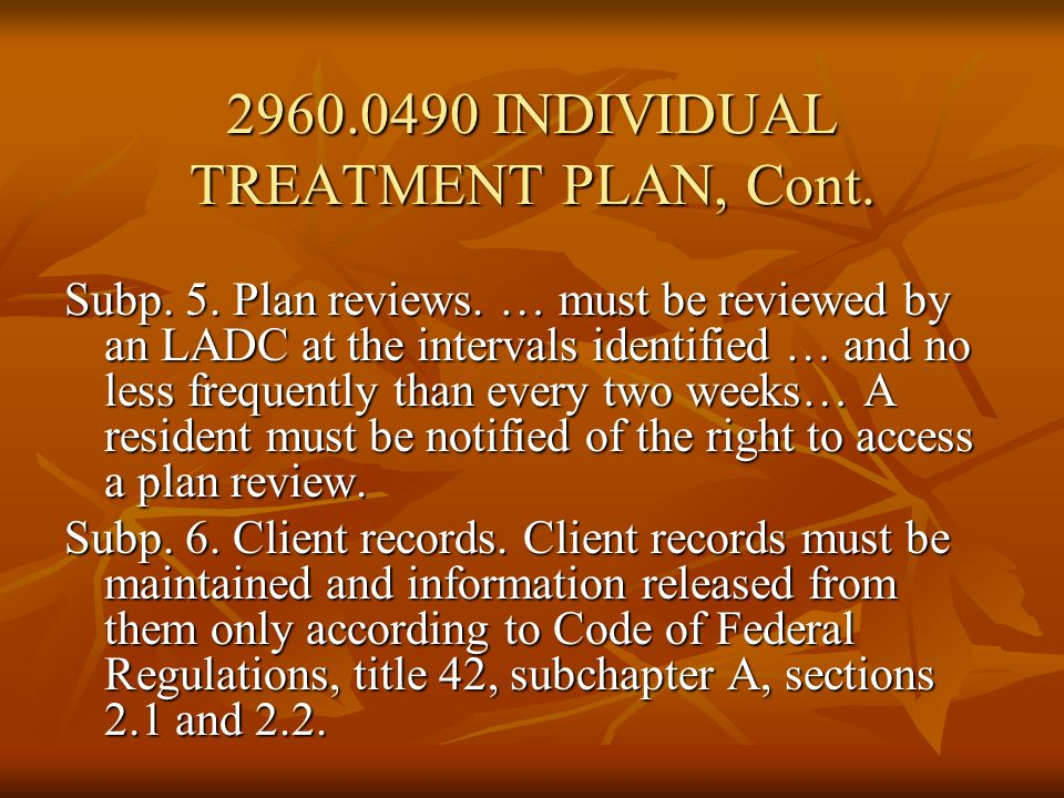 INDIVIDUAL TREATMENT PLAN, Cont.