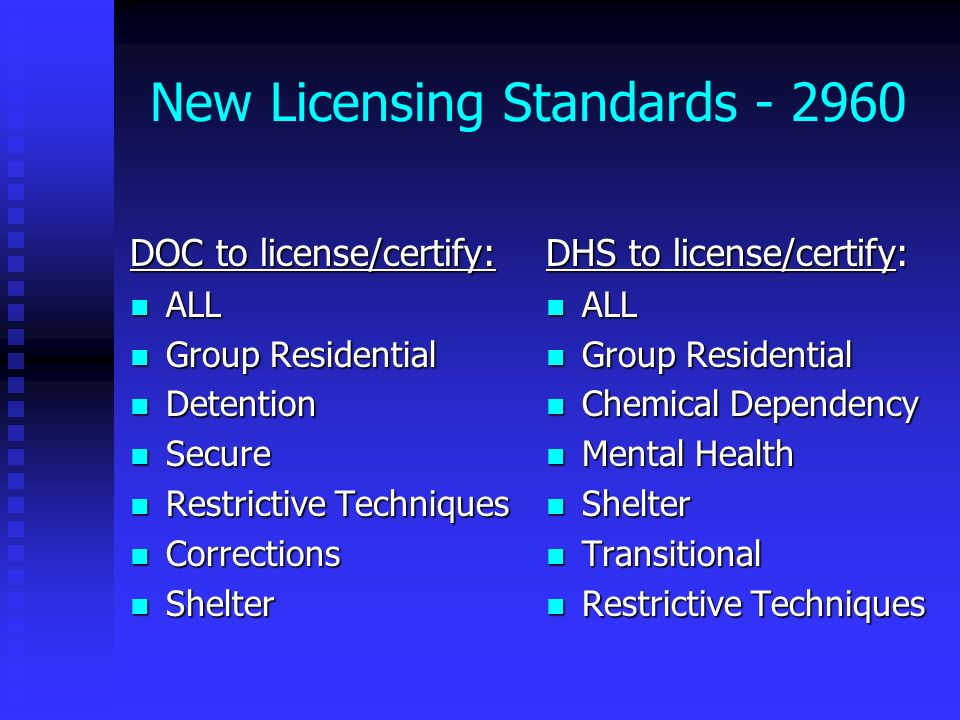 New Licensing Standards - 2960