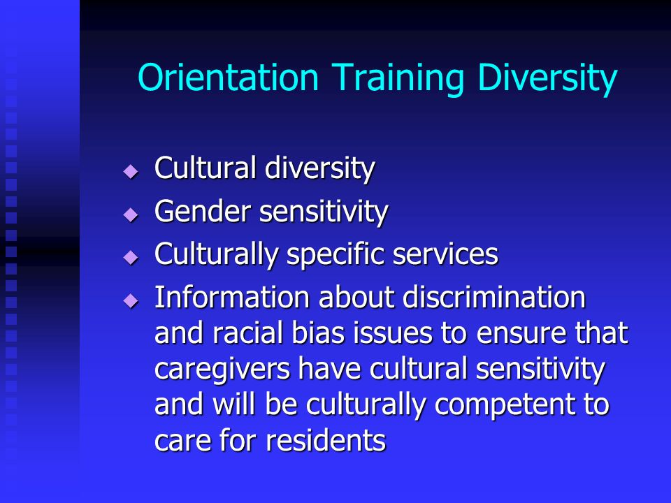 Orientation Training Diversity
