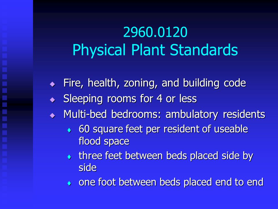2960.0120 Physical Plant Standards