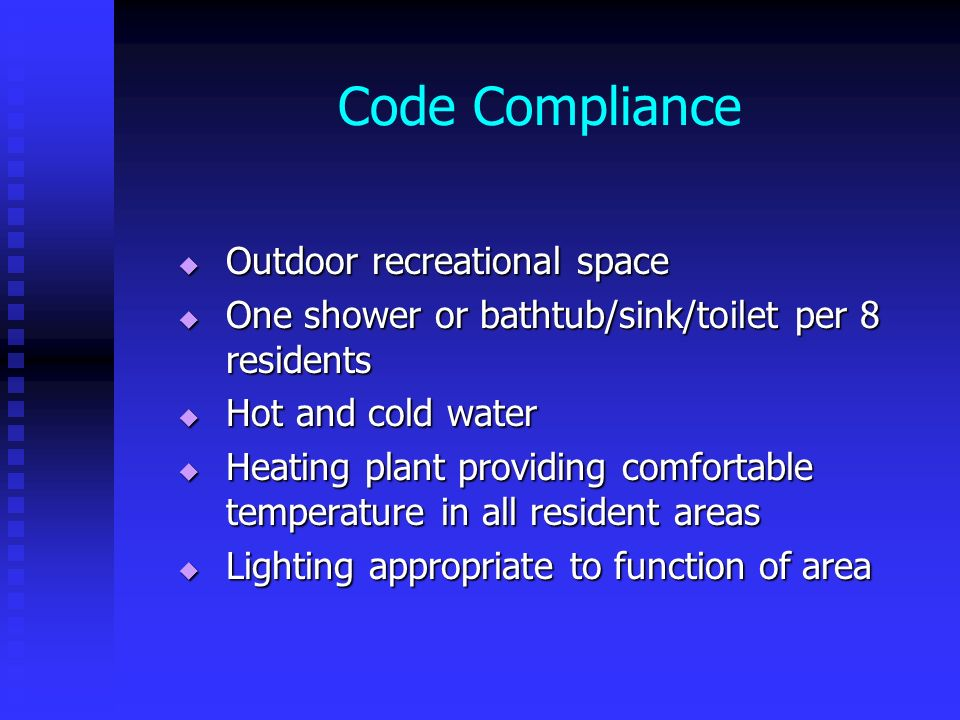 Code Compliance Outdoor recreational space
