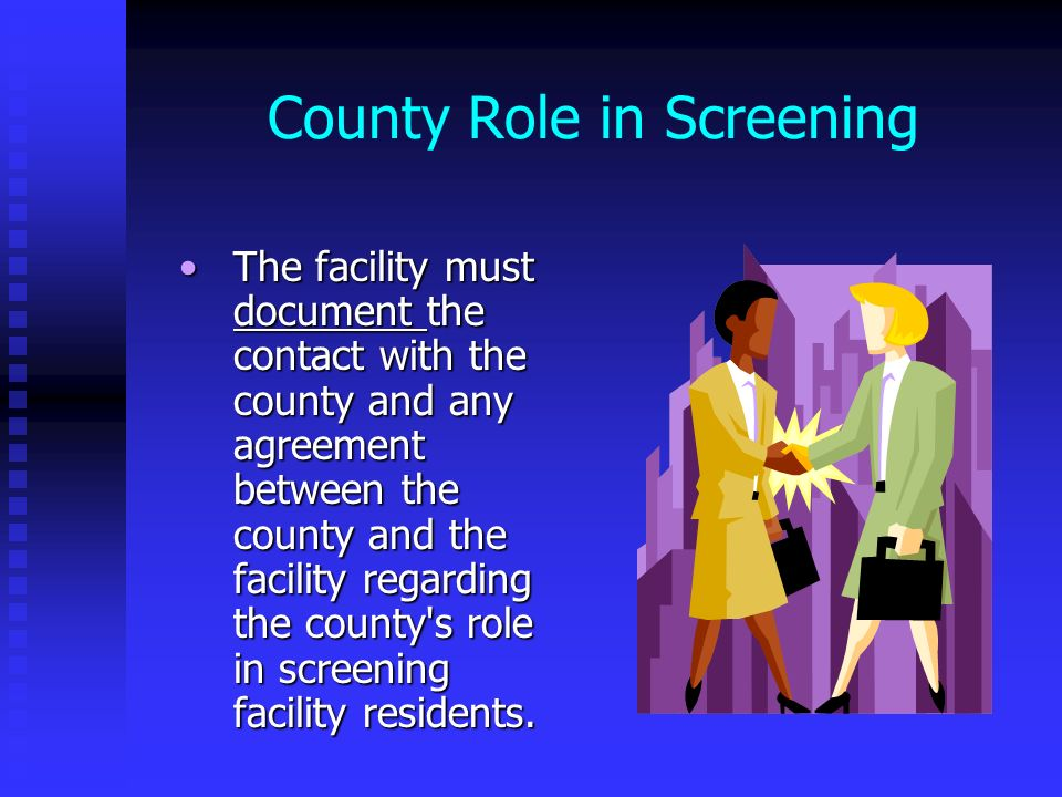 County Role in Screening