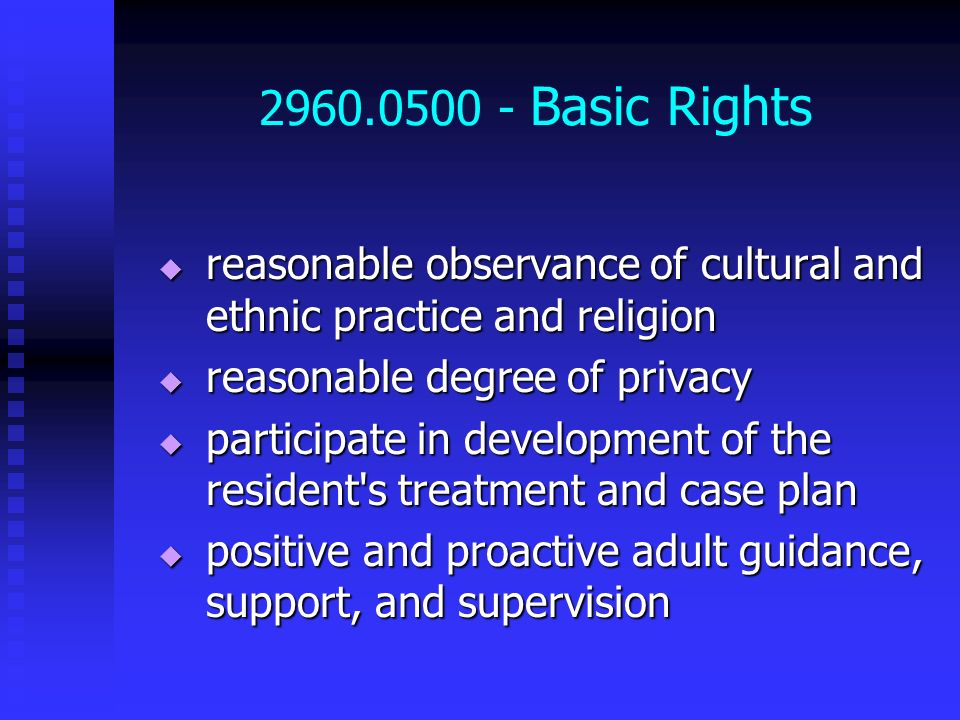 2960.0500 - Basic Rights reasonable observance of cultural and ethnic practice and religion. reasonable degree of privacy.