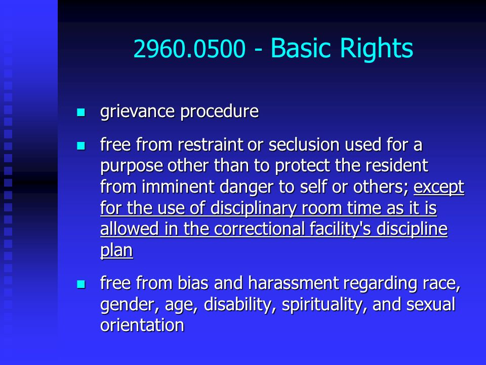 2960.0500 - Basic Rights grievance procedure