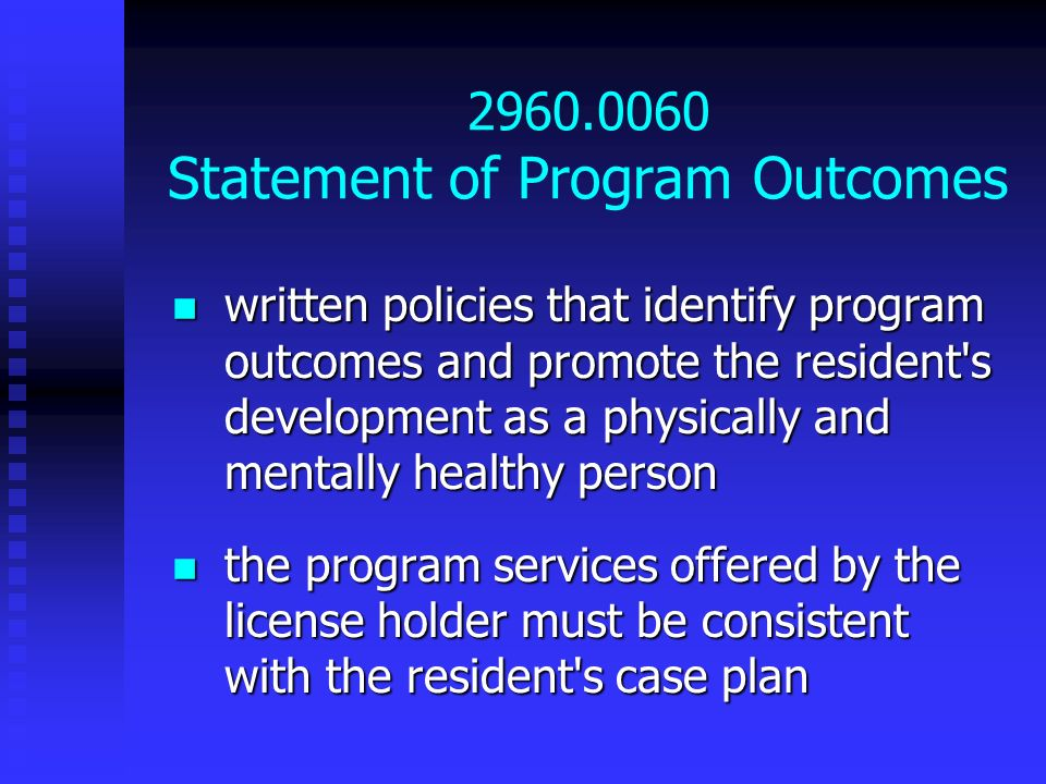 2960.0060 Statement of Program Outcomes