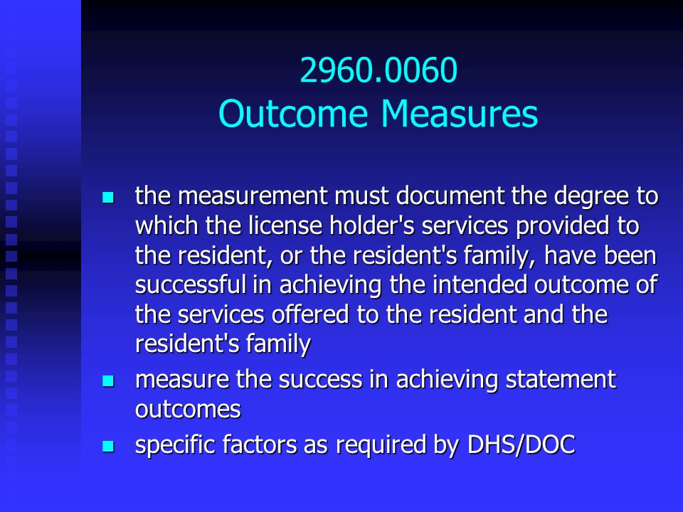 2960.0060 Outcome Measures