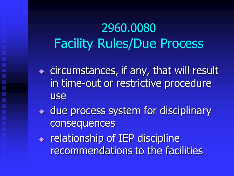 2960.0080 Facility Rules/Due Process