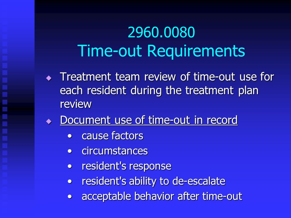 2960.0080 Time-out Requirements