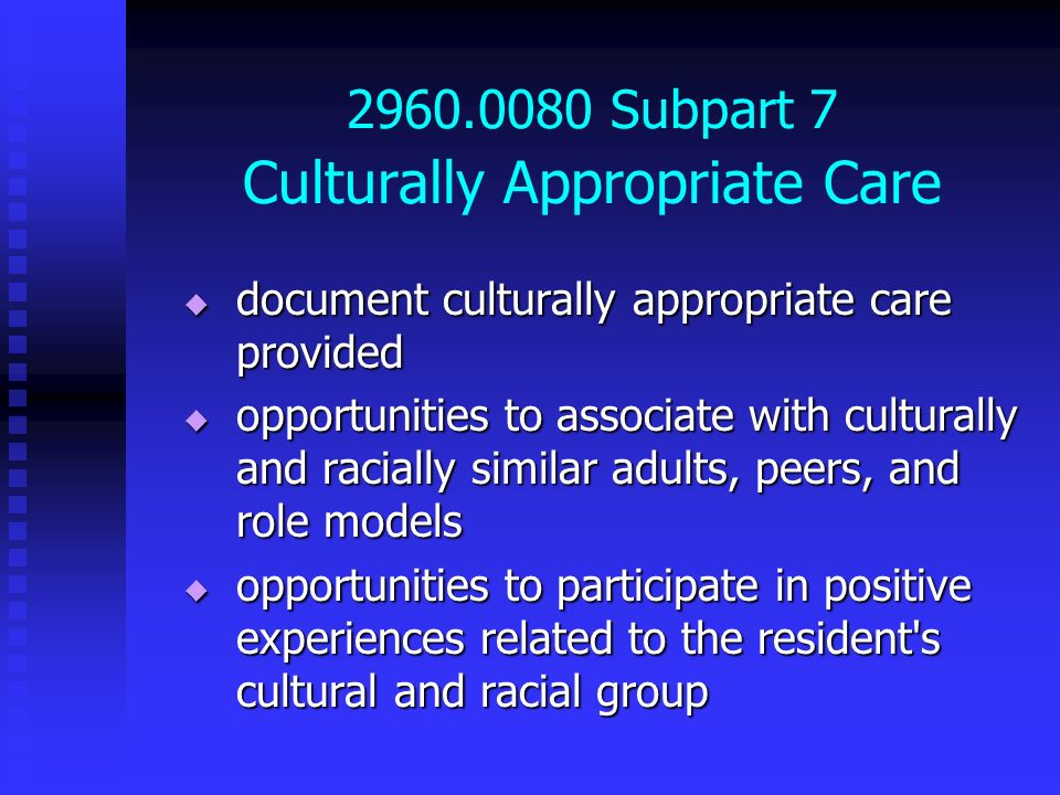 2960.0080 Subpart 7 Culturally Appropriate Care