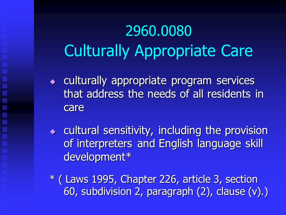 2960.0080 Culturally Appropriate Care