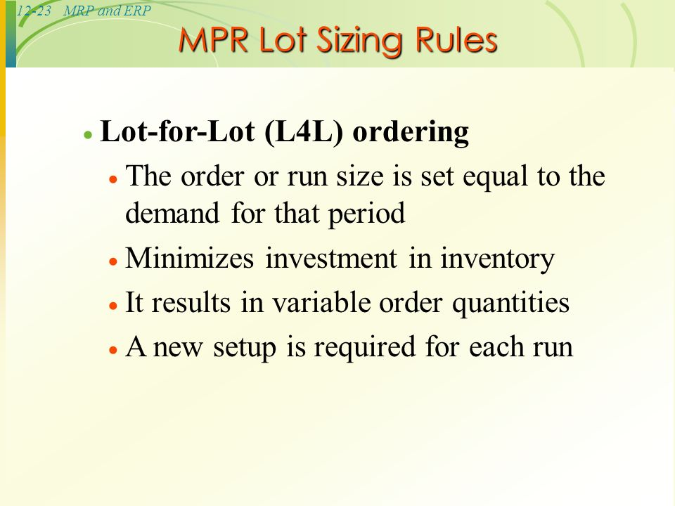 eoq ppd l4l poq Given 150 units of beginning inventory, a lead time of one period, an ordering cost of $400 per order, and a holding cost of $2 per unit per period, determine which lot sizing technique (l4l, eoq or poq) would result in the lowest total cost for the following demand data.