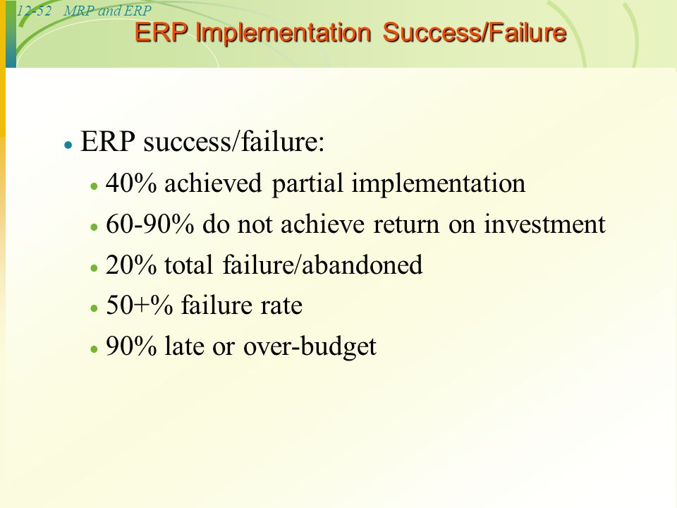 success and failure of erp implementation The success and failure of erp critical success factors in implementation of erp systems stephen coady success and failure examples of erp implementation.