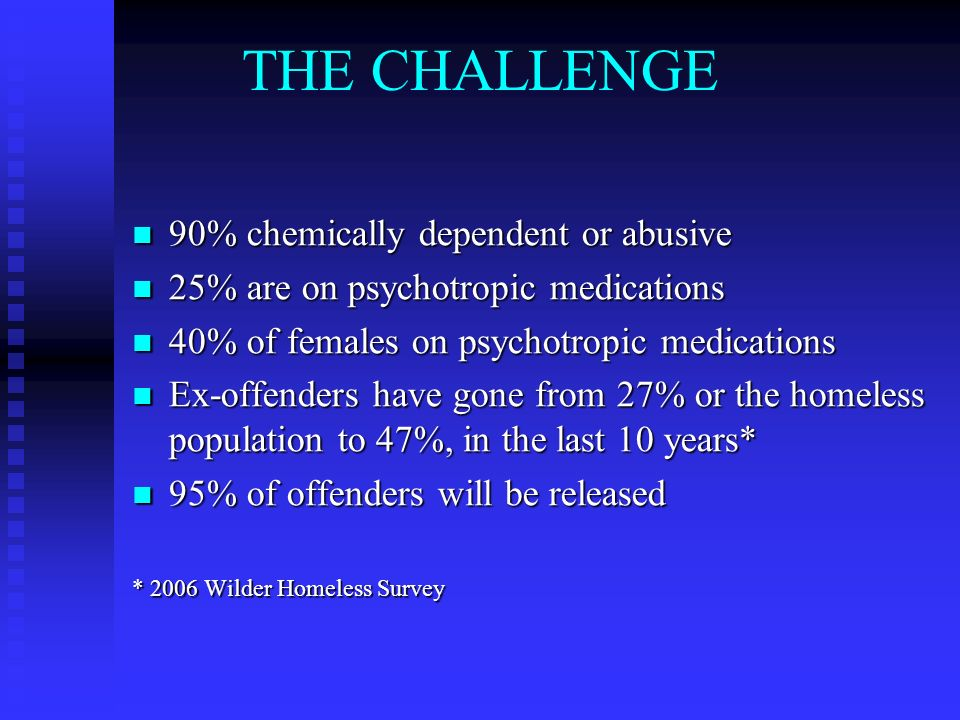 THE CHALLENGE 90% chemically dependent or abusive