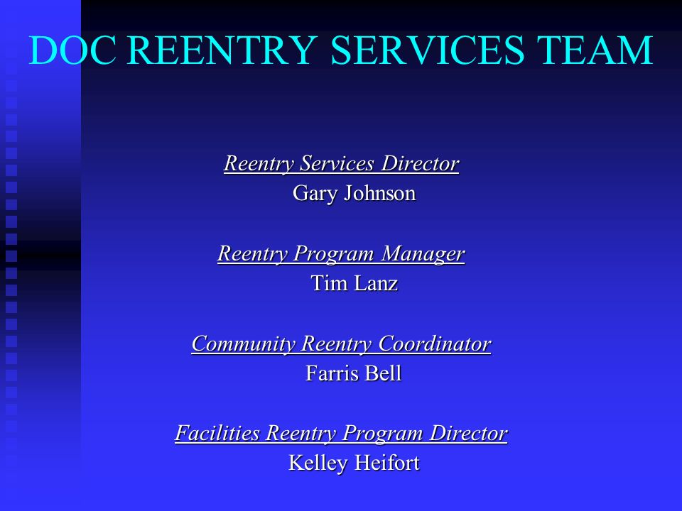 DOC REENTRY SERVICES TEAM