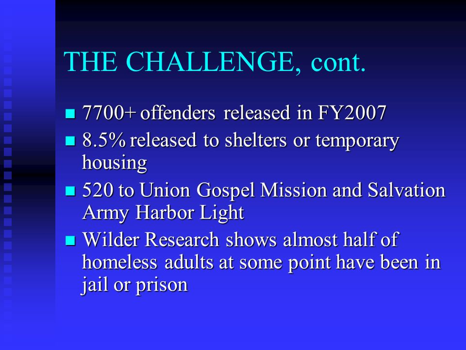 THE CHALLENGE, cont. 7700+ offenders released in FY2007