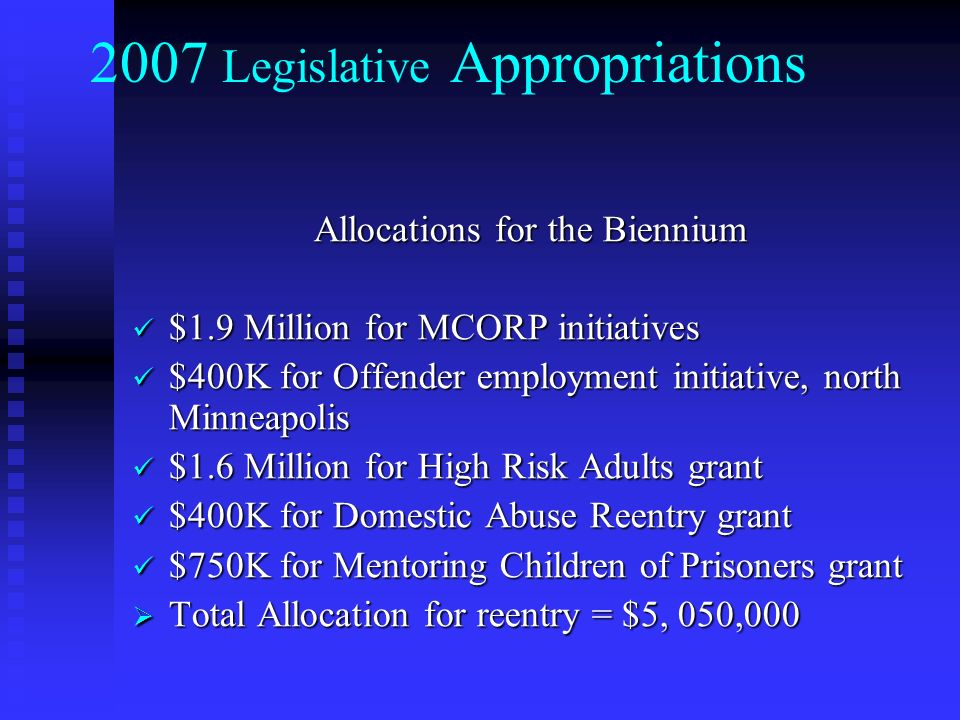2007 Legislative Appropriations