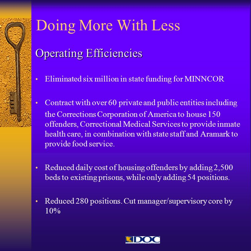 Doing More With Less Operating Efficiencies