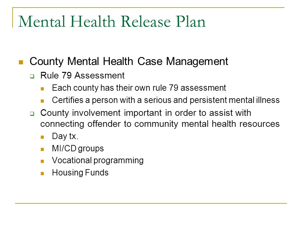 Mental Health Release Plan