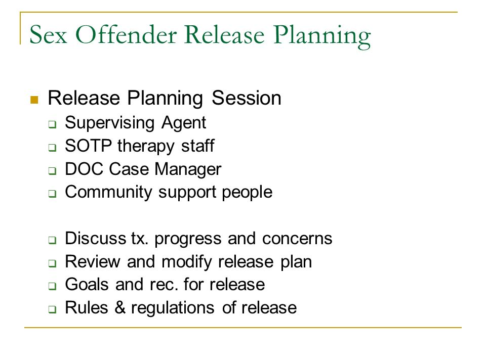 Sex Offender Release Planning