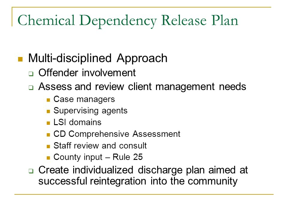 Chemical Dependency Release Plan