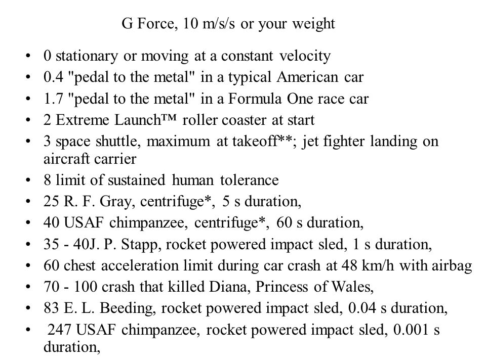 G Force, 10 m/s/s or your weight
