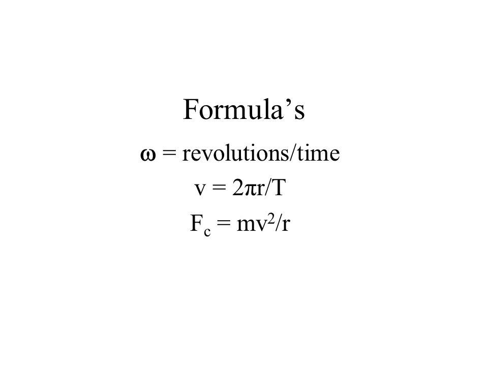 Formula's  = revolutions/time v = 2πr/T Fc = mv2/r