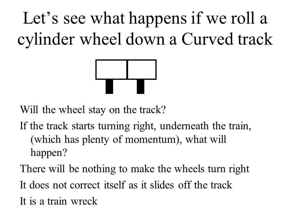Let's see what happens if we roll a cylinder wheel down a Curved track