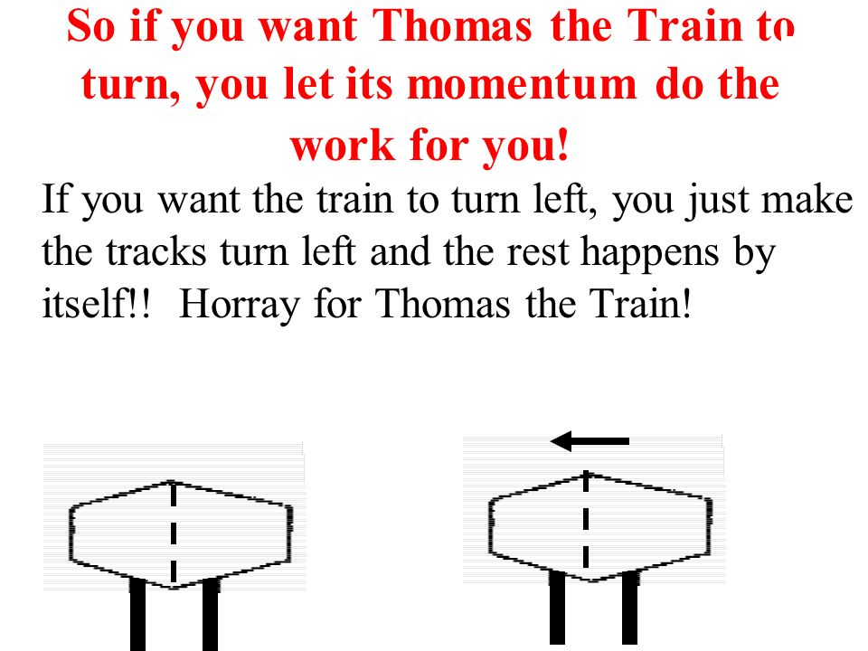 So if you want Thomas the Train to turn, you let its momentum do the work for you!