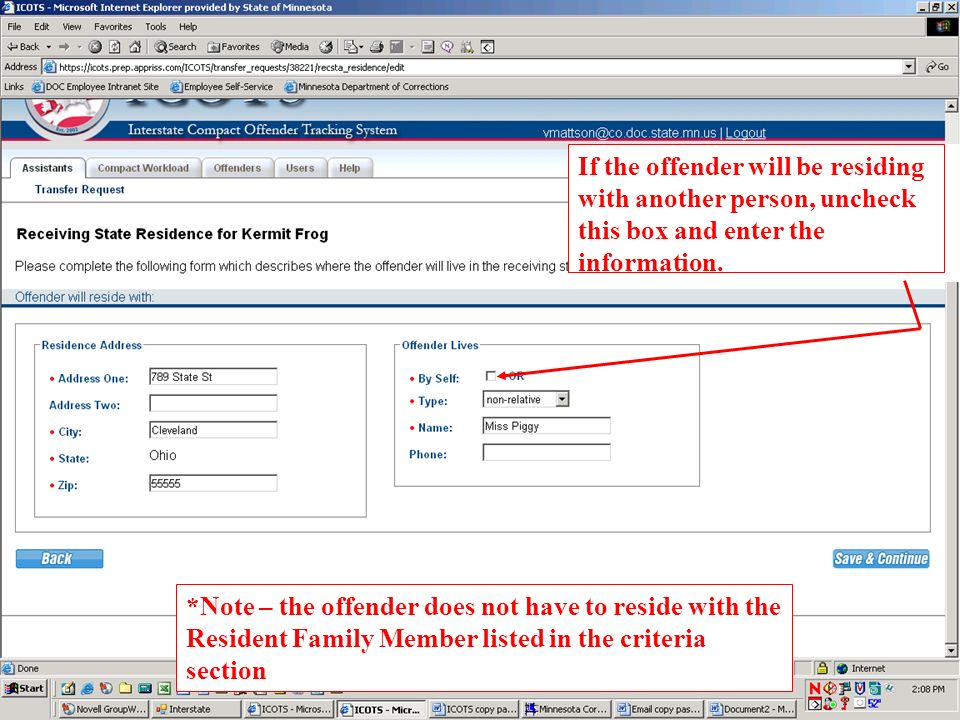 If the offender will be residing with another person, uncheck this box and enter the information.