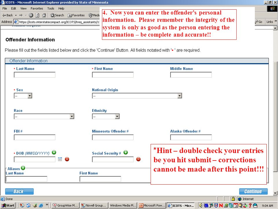 4. Now you can enter the offender's personal information