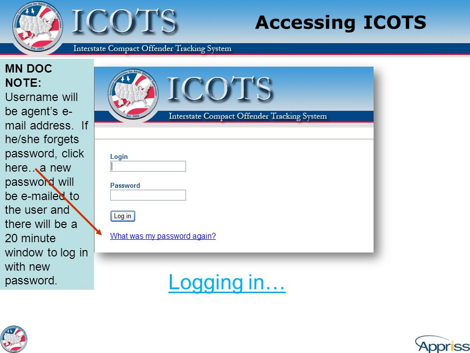 Logging in… Accessing ICOTS