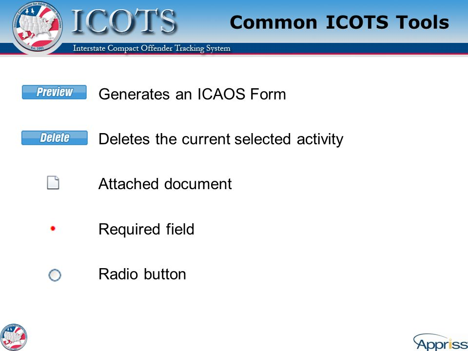 Common ICOTS Tools Generates an ICAOS Form Deletes the current selected activity Attached document Required field Radio button