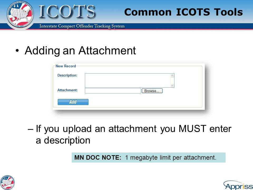 Adding an Attachment Common ICOTS Tools