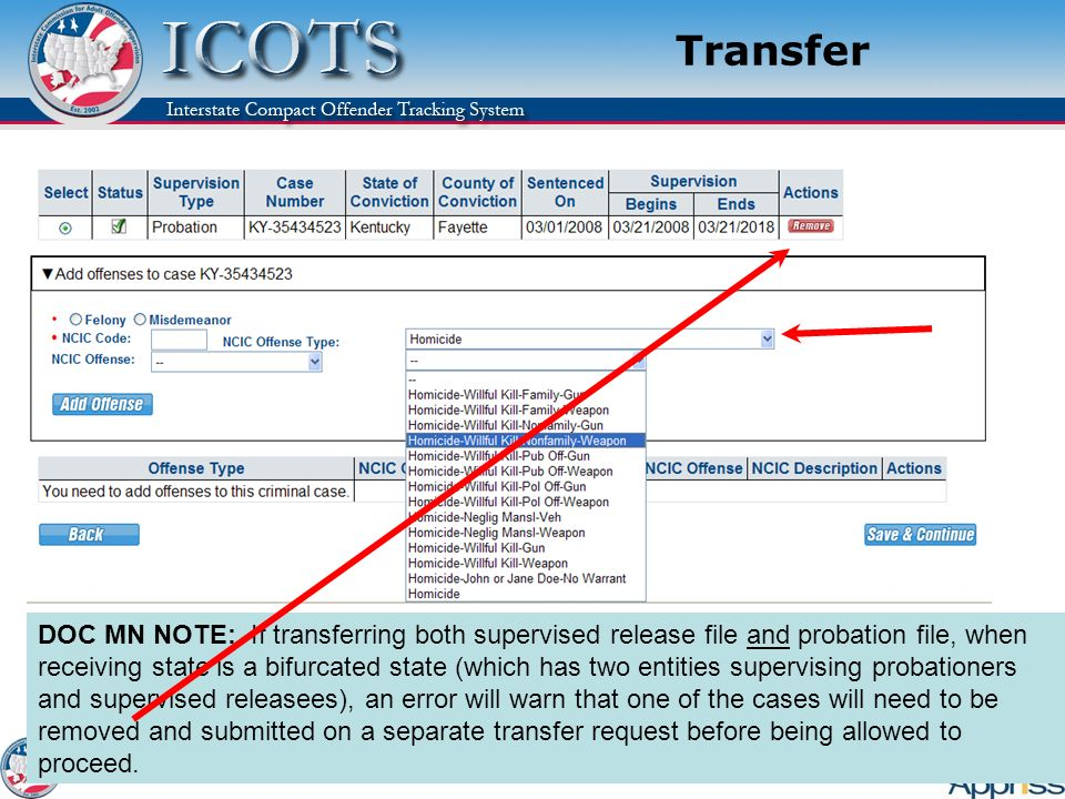 Transfer Explain: How the NCIC dropdowns work – each dropdown further narrows your options of codes.