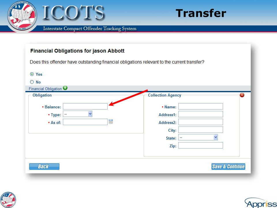 Transfer Explain: That this is for reporting financial obligations, not tracking them.