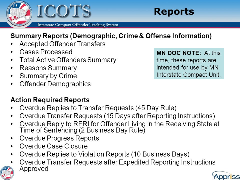 Reports Summary Reports (Demographic, Crime & Offense Information)