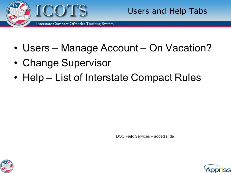 Users – Manage Account – On Vacation Change Supervisor