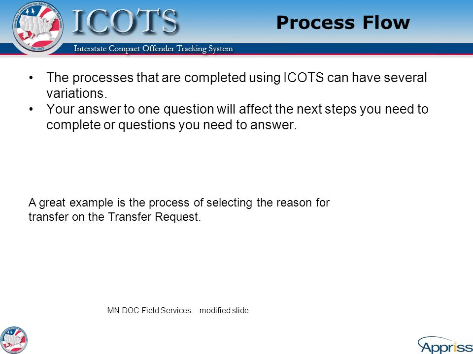 Process Flow The processes that are completed using ICOTS can have several variations.