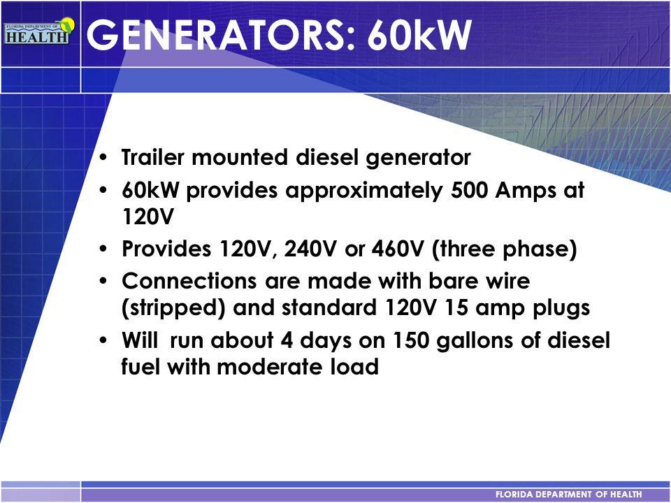 GENERATORS: 60kW Trailer mounted diesel generator
