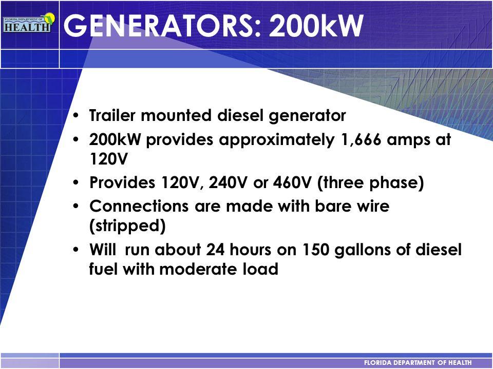 GENERATORS: 200kW Trailer mounted diesel generator