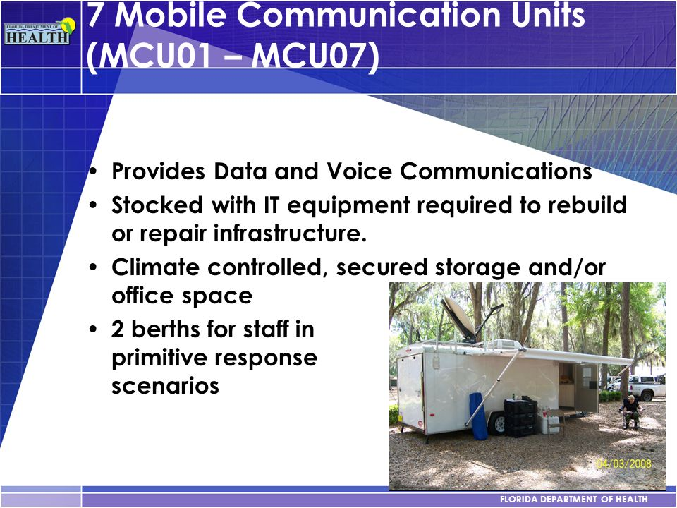 7 Mobile Communication Units (MCU01 – MCU07)