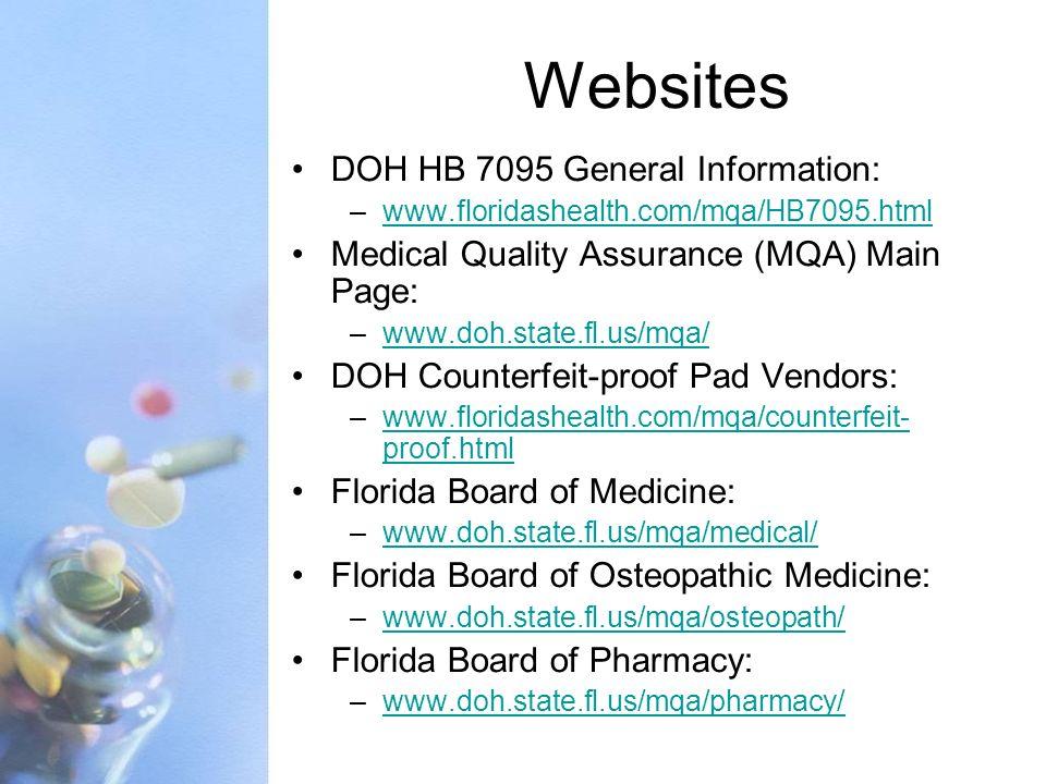 Websites DOH HB 7095 General Information: