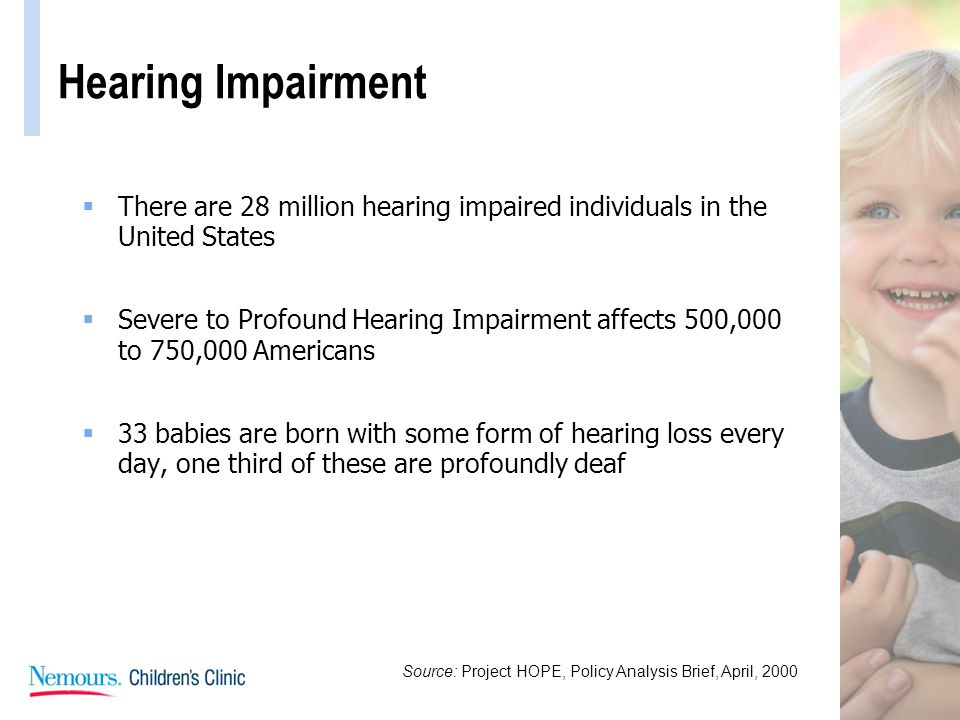 Hearing Impairment There are 28 million hearing impaired individuals in the United States.