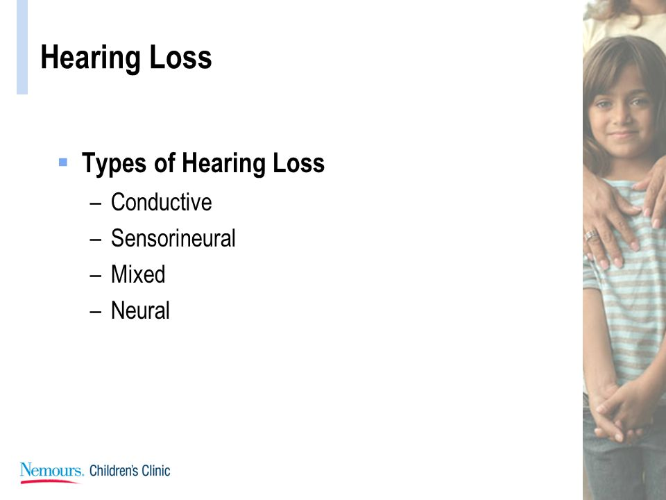 Hearing Loss Types of Hearing Loss Conductive Sensorineural Mixed