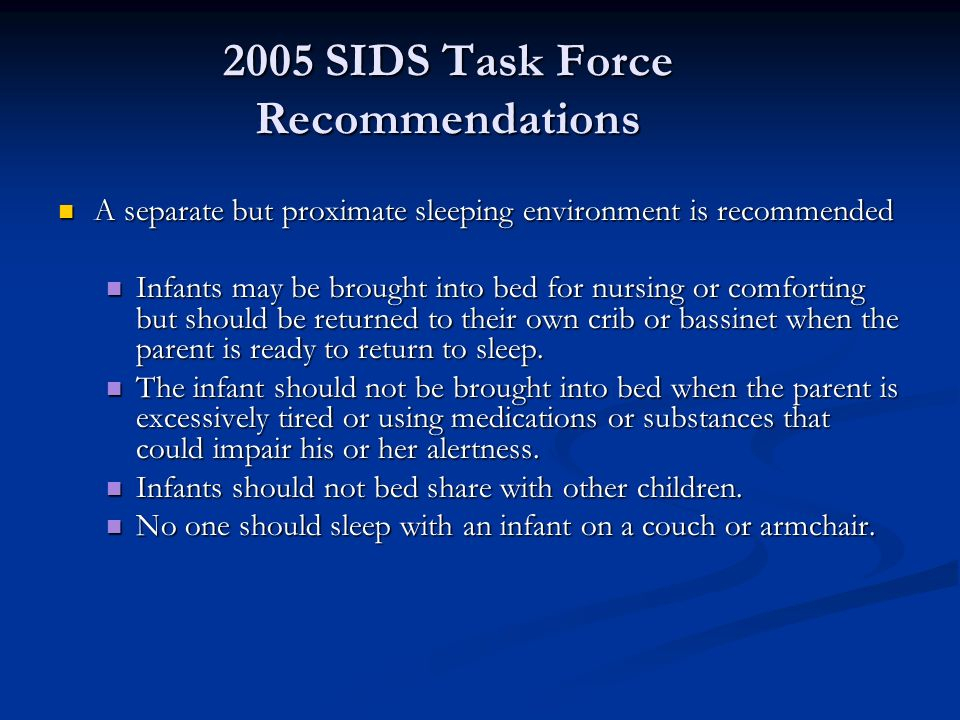 2005 SIDS Task Force Recommendations