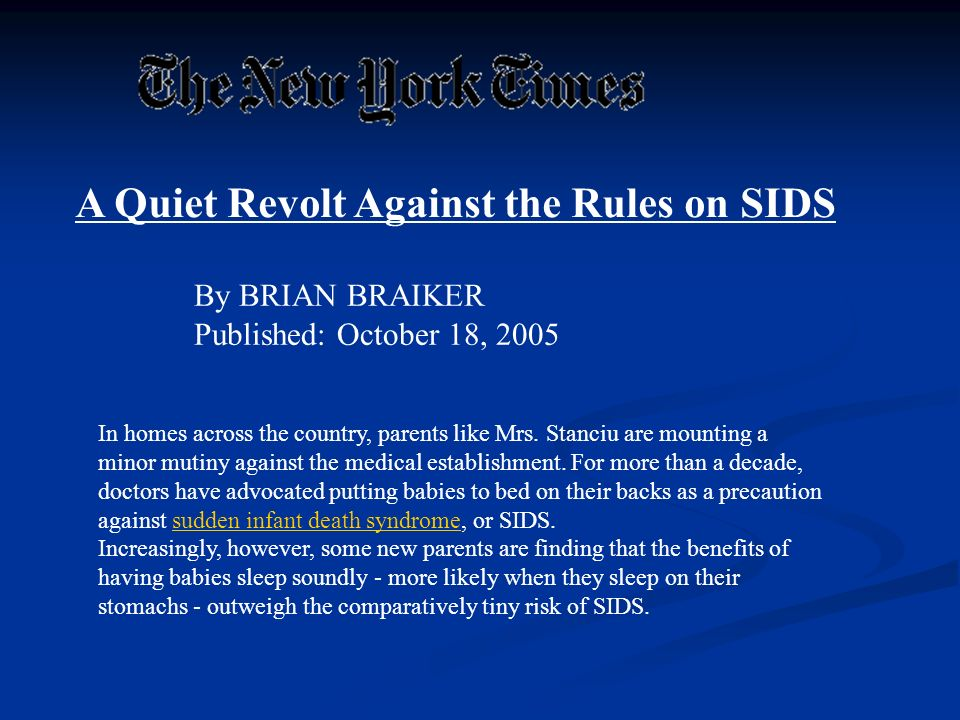 A Quiet Revolt Against the Rules on SIDS